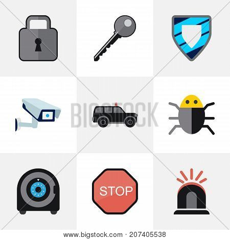Set Of 9 Editable Safety Flat Icons. Includes Symbols Such As Caution, Hatchback, Protection And More