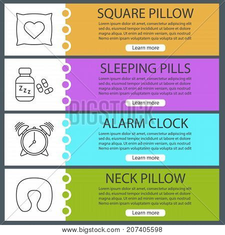 Sleeping accessories web banner templates set. Square and neck pillows, alarm clock, sleeping pills. Website color menu items with linear icons. Vector headers design concepts
