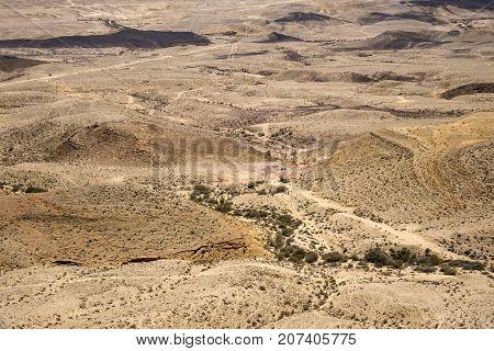 Landscape of the large crater Ha-Makhtesh Ha-Gadol in the Negev desert (Israel)