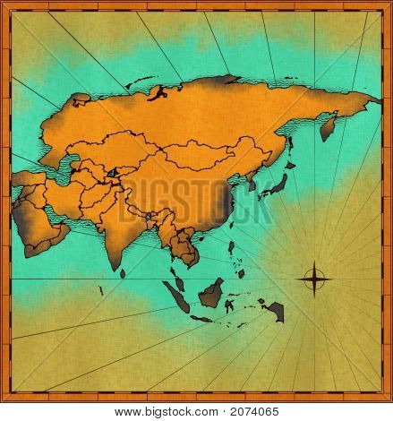 Hand Drawn Map Of Asia