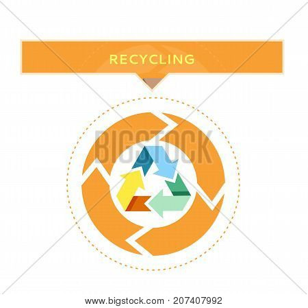 Recycling logo design with circle graphic of recycled waste process vector illustration on white background. Clean environment protection concept
