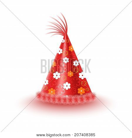 Bright red festive cap with flowers and tassel isolated on white background. Funny party accessory vector illustration. Holiday headgear for festive mood and having fun. Dress up for celebration.