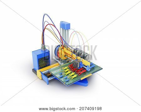 Printer 3D Print The Prosthesis Hand In Parts 3D Render On White Background