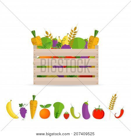 Fresh Fruits and vegetables in a box. Wooden box with garden vegetables. Natural healthy food concept. Vegetables from the farm.isolated on white background