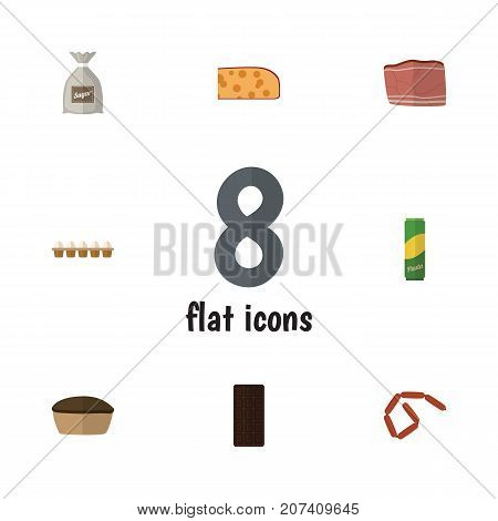 Flat Icon Food Set Of Bratwurst, Spaghetti, Confection And Other Vector Objects