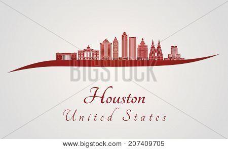 Houston V2 Skyline In Red