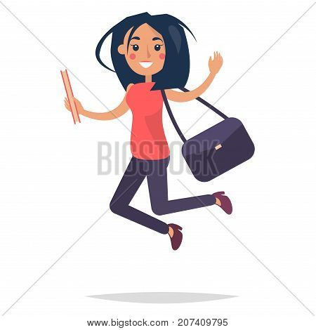 Young bouncing girl student holding ruddy book on white background. College girl dressed in red blouse, dark trousers and high heel shoes. Dark purple bag on shoulder vector illustration flat design