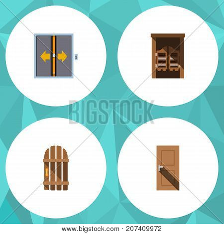 Flat Icon Approach Set Of Wooden Fence, Entrance, Saloon And Other Vector Objects
