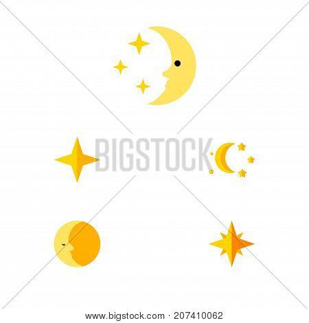Flat Icon Midnight Set Of Nighttime, Star, Lunar And Other Vector Objects