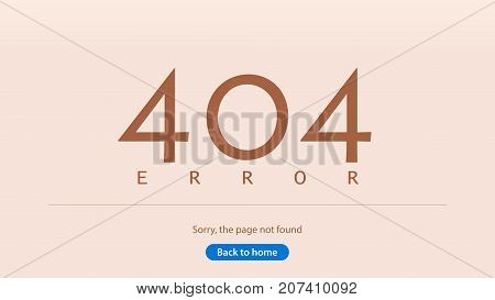 Error 404. Sorry, the page not found. Back to home. Multicolored figures with a shadow. Template for the web page. Vector