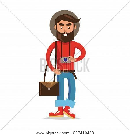 Hipster tourist with camera cartoon icon. Young man in hat, rolled up jeans, boots, bag over shoulder and photo camera on neck isolated flat vector. Lightweight traveler illustration. Modern nomad