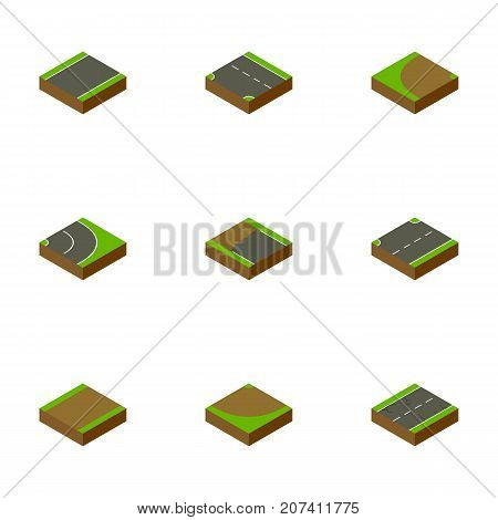 Isometric Way Set Of Incomplete, Upwards, Unilateral And Other Vector Objects
