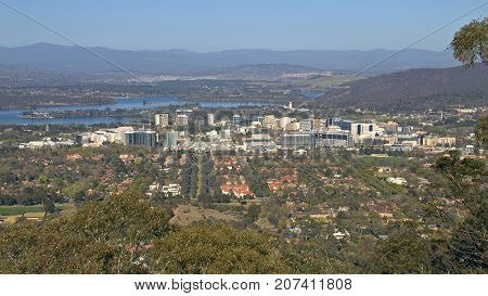 A view of Canberra's city centre from Mount Ainslie lookout