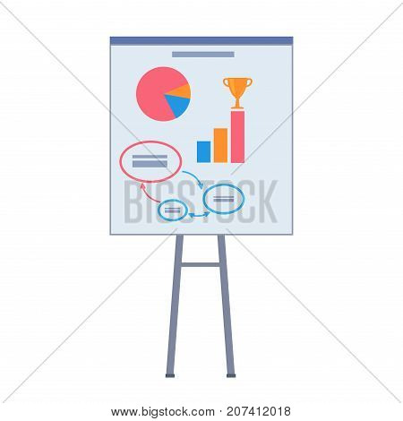 Way to success on poster in startup vector illustration. Color diagram, stages of growth company and top places with golden goblet on placard.