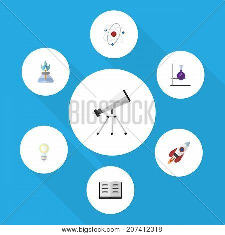 Flat Icon Study Set Of Flame, Lecture, Spaceship And Other Vector Objects