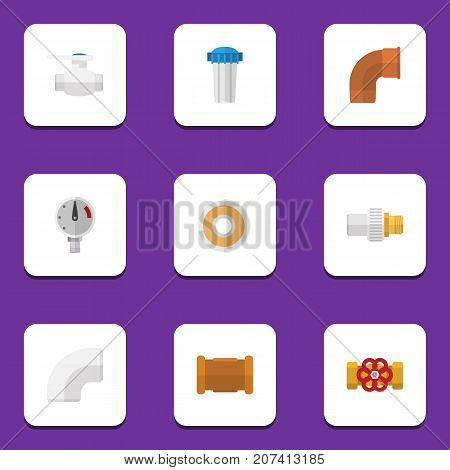 Flat Icon Pipeline Set Of Iron, Pump Valve, Roll And Other Vector Objects