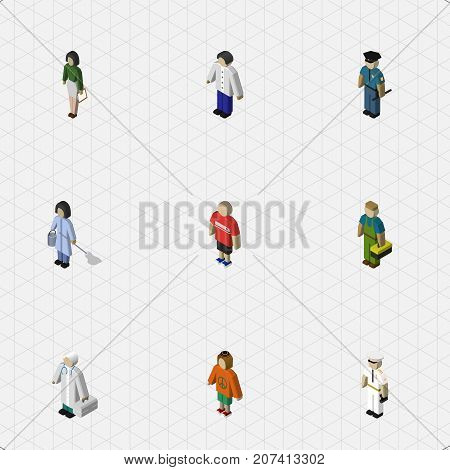 Isometric Person Set Of Seaman, Housemaid, Pedagogue And Other Vector Objects