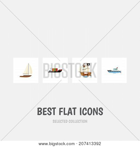 Flat Icon Boat Set Of Yacht, Tanker, Sailboat And Other Vector Objects