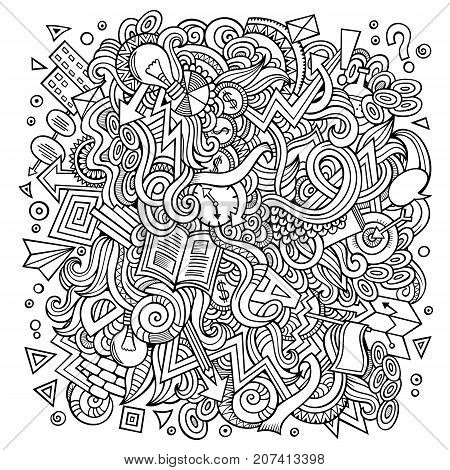 Cartoon cute doodles hand drawn Idea illustration. Line art detailed, with lots of objects background. Funny vector artwork. Vintage picture with Concept theme items