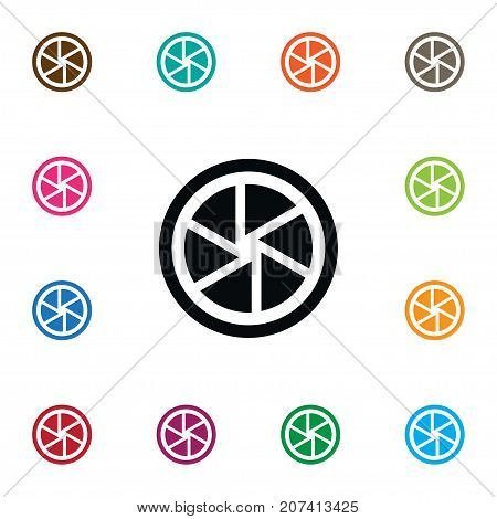 Photographic Vector Element Can Be Used For Lens, Shutter, Camera Design Concept.  Isolated Shutter Icon.