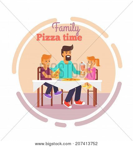 Family pizza time vector illustration of father, daughter and son having lunch together vector illustration in round circle. Dad and children sit at table and eat