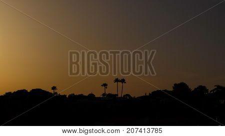 Beautiful orange sunset in a dream island