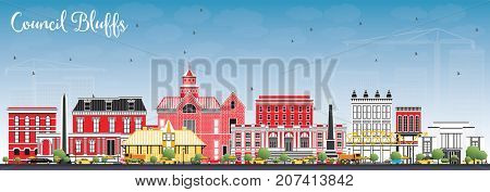 Council Bluffs Iowa Skyline with Color Buildings and Blue Sky. Business Travel and Tourism Illustration with Historic Architecture.