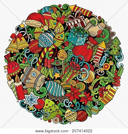 Cartoon vector doodles New Year illustration. Colorful, detailed, with lots of objects background. All objects separate. Bright colors Christmas funny round picture