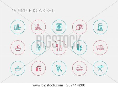 Set Of 15 Editable Hygiene Outline Icons. Includes Symbols Such As Vacuuming, Tools, Bleach And More