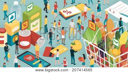 People doing grocery shopping they are buying products and filling a shopping basket with healthy fresh food and using apps on a smartphone