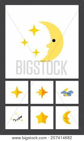 Flat Icon Bedtime Set Of Midnight, Starlet, Star And Other Vector Objects
