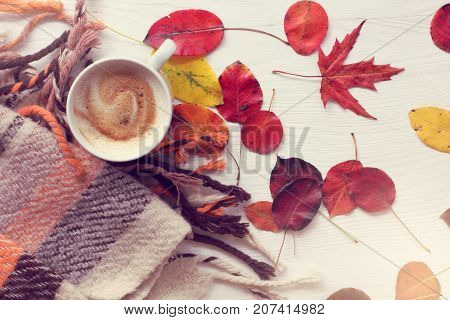 flat lay with mug of frothy cappuccino and autumn leaves on a table with blanket top view / cozy warming coffee break