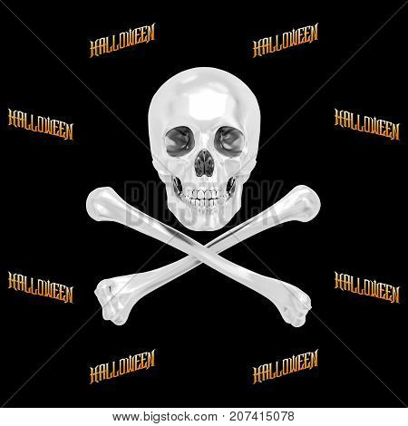 White Skull and Crossbones, Halloween, 3D, Isolated Against a Black Background.