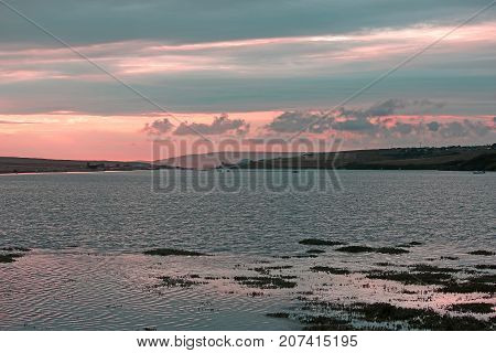 Fleet Basin and Chesil Bank at sunset