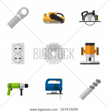 Set Of 9 Editable Instruments Flat Icons. Includes Symbols Such As Socket , Sandblast, Cutting