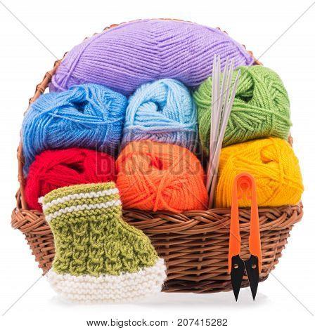 Bright acrylic yarn for knitting isolated on white background