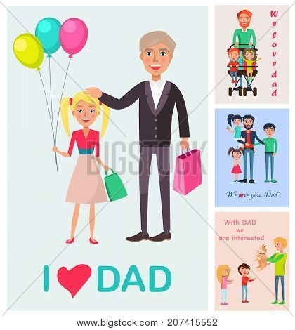 I love dad vector poster of standing daughter with balloons near daddy, and small images with dad s care and warm towards kids