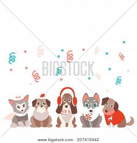 vector background with cute cartoon puppies in warm winter clothes. Different breeds - husky, retriever, pug, Chinese crested and basset. Natural colors.