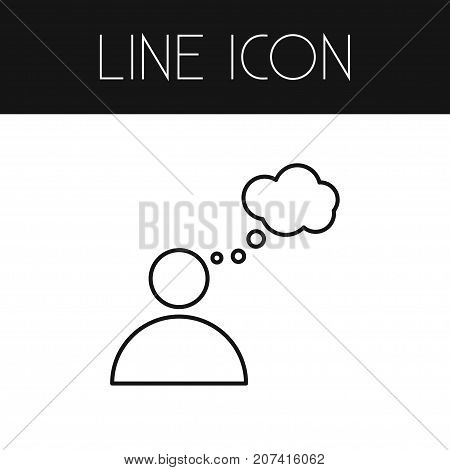 Mind Vector Element Can Be Used For Thinking, Mind, Think Design Concept.  Isolated Thinking Outline.