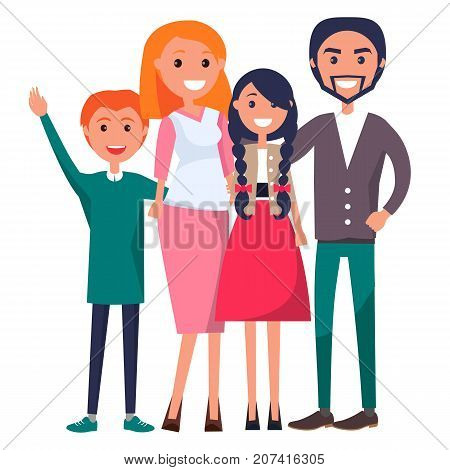 Poster devoted to parents day vector illustration of family including father, mother, teenage son, adolescent daughter isolated on white