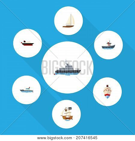 Flat Icon Ship Set Of Cargo, Transport, Vessel And Other Vector Objects