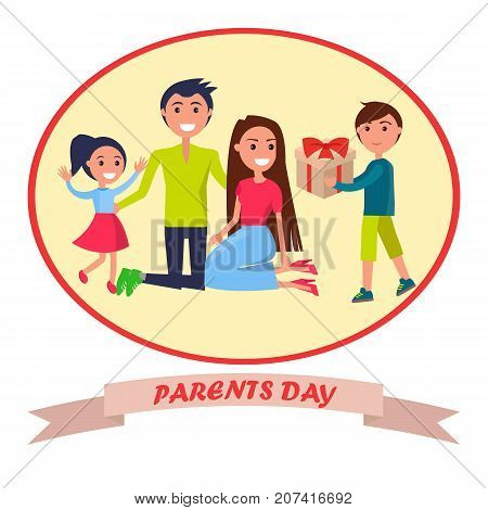 Parents day banner in round frame vector illustration of gleeful daughter with her mother and father receiving present from their young son