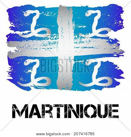 Snake flag of Martinique from brush strokes in grunge style isolated on white background. Latin America. Overseas region and department of France in Caribbean Sea. Vector illustration
