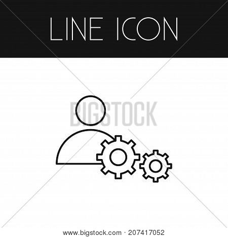 Person Vector Element Can Be Used For Person, Skills, Cogwheel Design Concept.  Isolated Skills Outline.