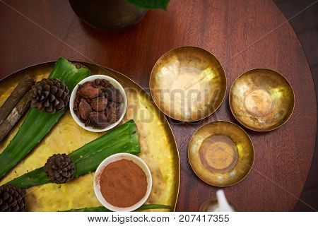 Nutmeg, aloe leaves and cones for spa procedure