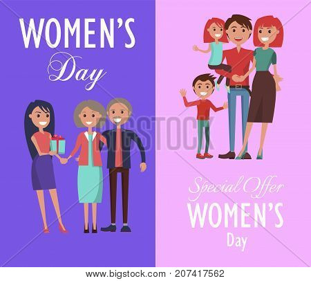 Set of posters dedicated to celebration of Women s Day. Vector illustration two gleeful families celebrating this spring holiday