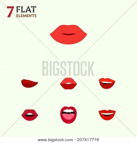 Flat Icon Lips Set Of Kiss, Mouth, Smile And Other Vector Objects