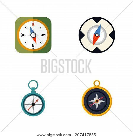 Flat Icon Orientation Set Of Measurement Dividers, Divider, Magnet Navigator And Other Vector Objects