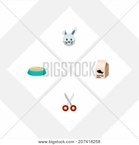 Flat Icon Pets Set Of Shears, Bunny, Feeding And Other Vector Objects