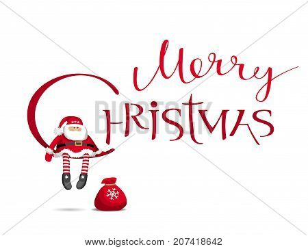 Merry Chrismas vector card with calligraphic lettering design with cartoon Santa Claus . Creative typography for holiday sales greeting cards posters banners for Christmas decoration.